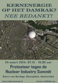 protesteer tegen kernenergie-industrie