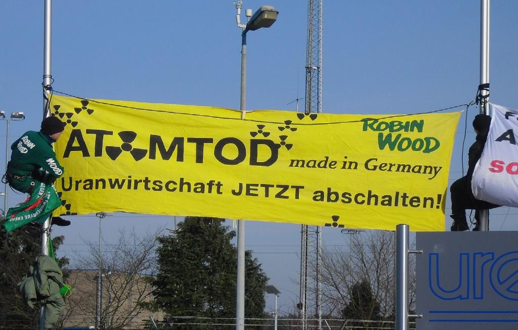 Protest tegen de Urenco uraniumverrijkingsfabriek in Gronau (Duitsland) Foto: Patrick Mueller